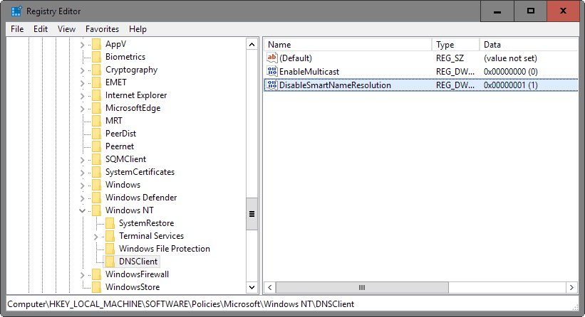 disable smart name resolution