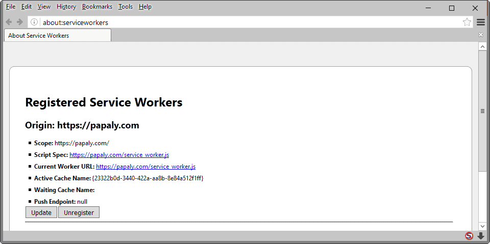 firefox manage service workers
