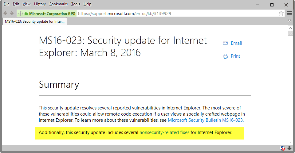 Security Update MS16-023 installs new