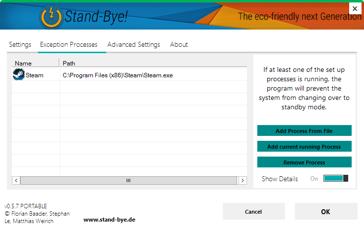 process exception standby