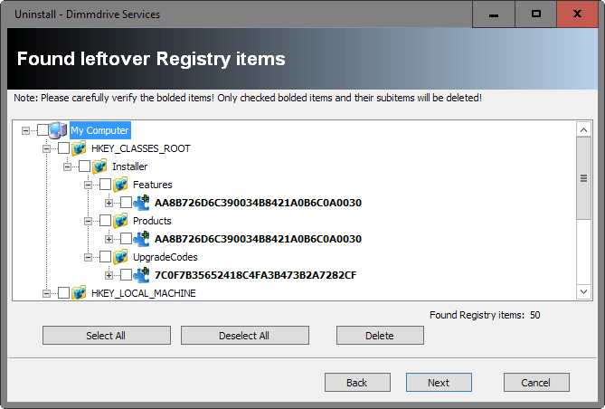 registry leftovers
