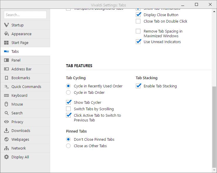vivaldi click -to switch tab