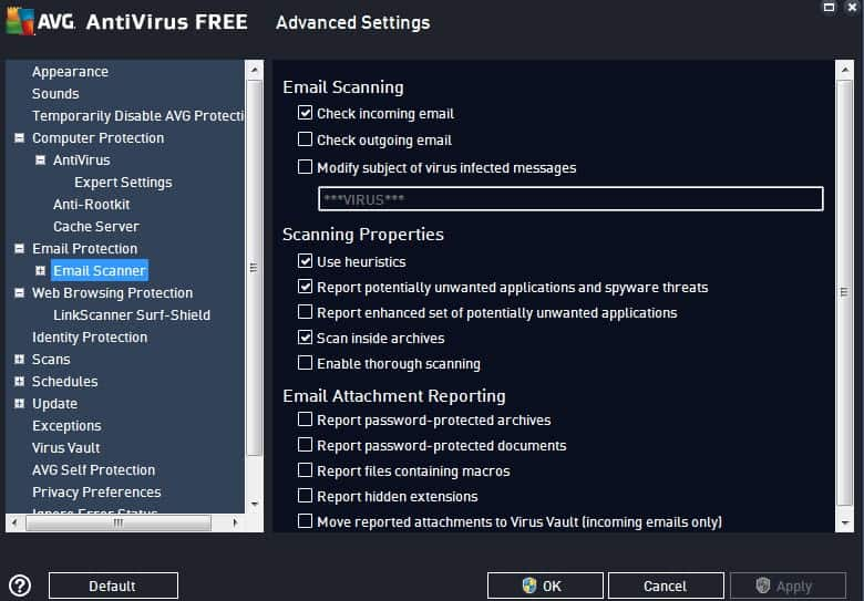 avg antivirus free settings