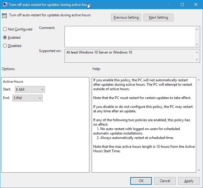 enable active hours group policy