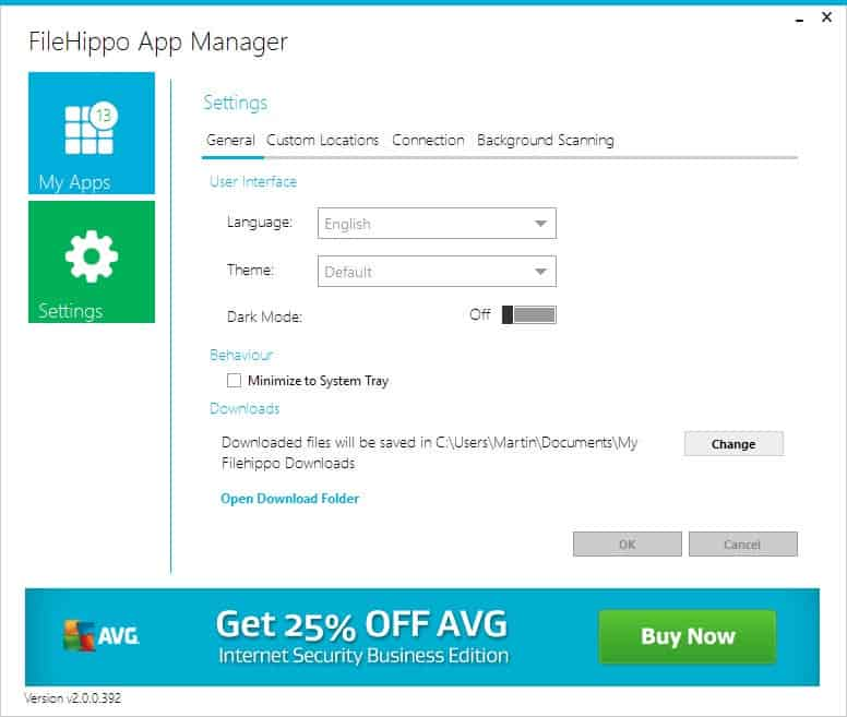 filehippo app manager settings