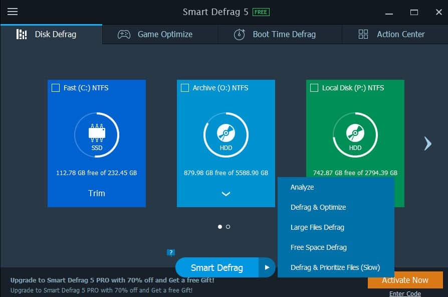 options de Smart Defrag
