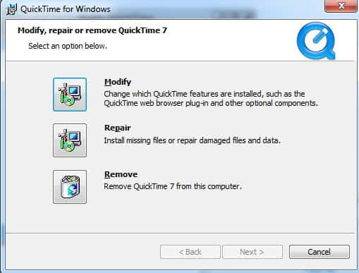 uninstall quicktime