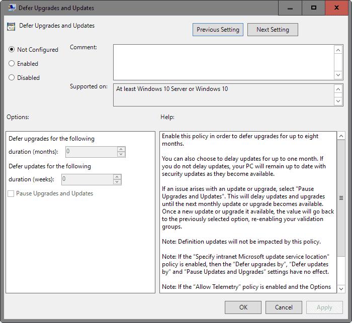 defer upgrades updates windows 10