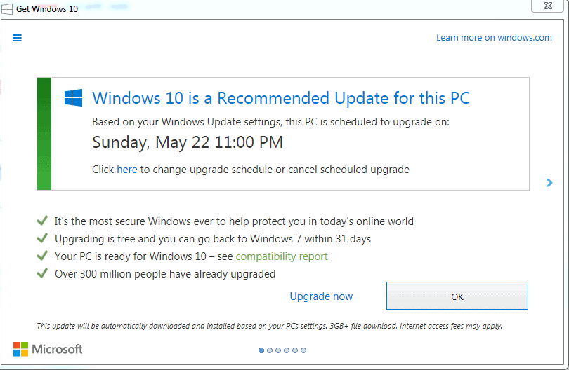 get windows 10 schedule