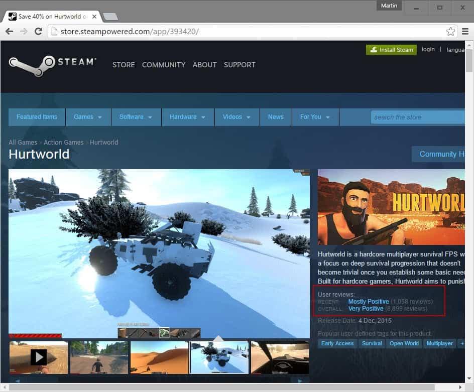 steam user reviews ratings