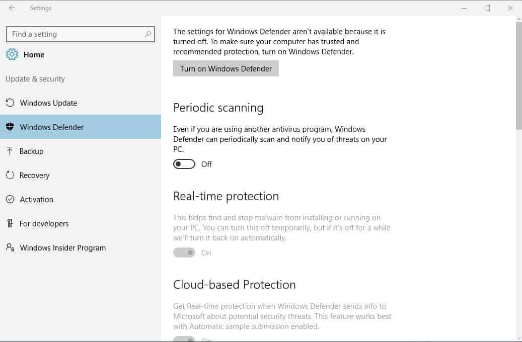 Windows 10 Limited Periodic Scanning explained - gHacks Tech News