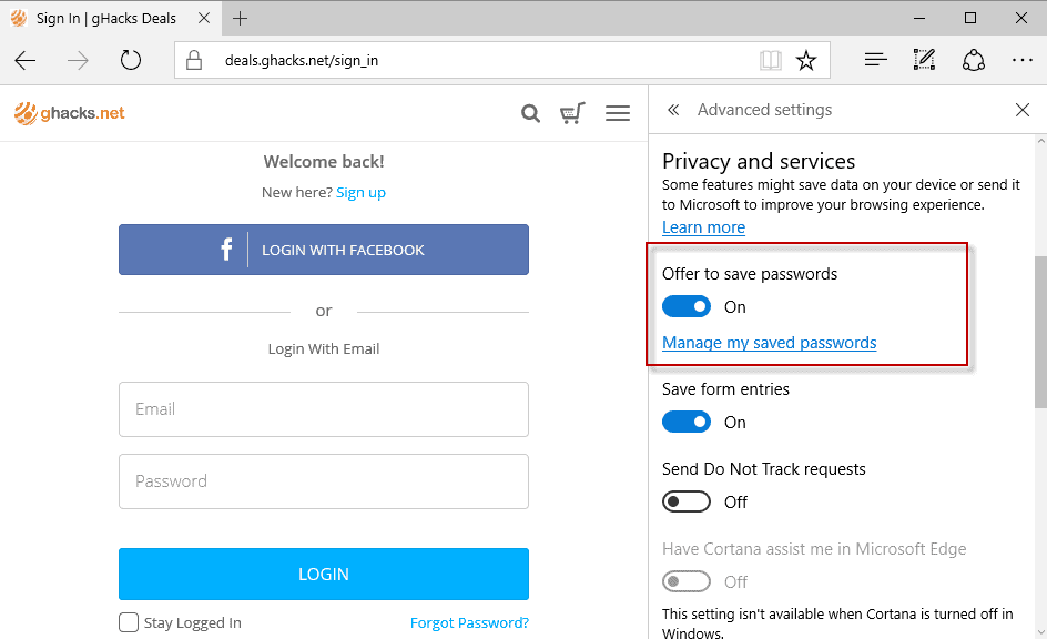 microsoft edge offer to save passwords