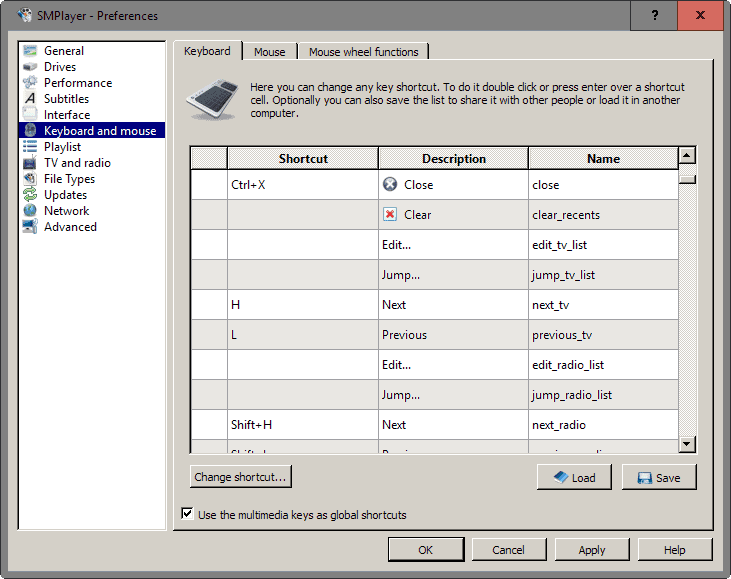 smplayer global shortcuts