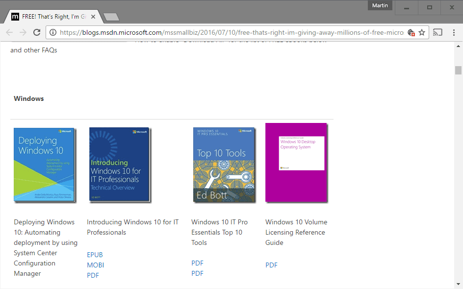 Microsoft gives away lots of free eBooks