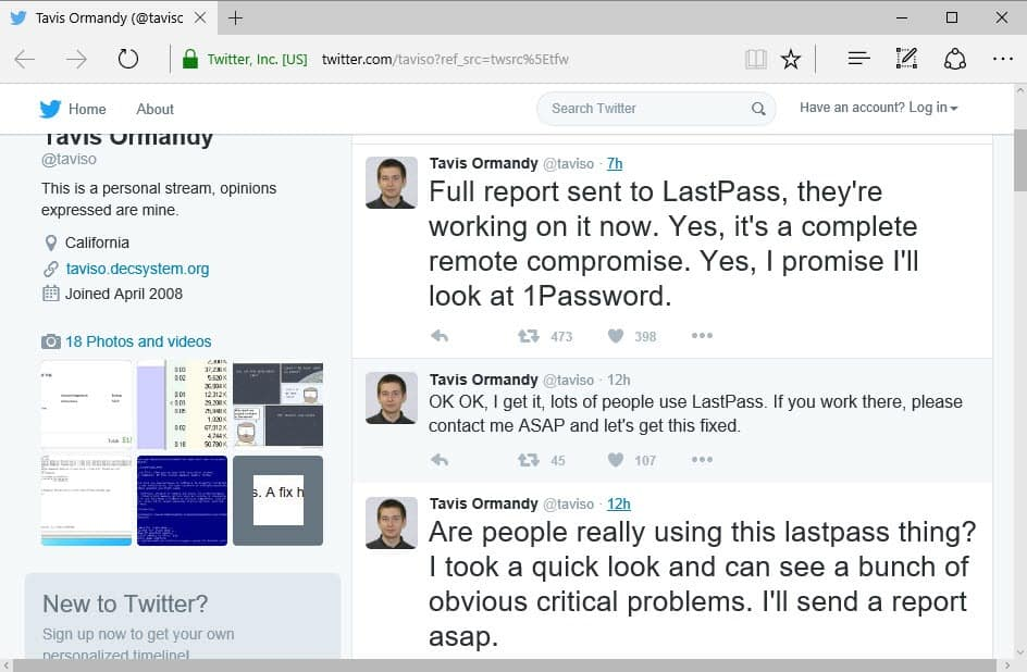 LastPass Remote Compromise vulnerability