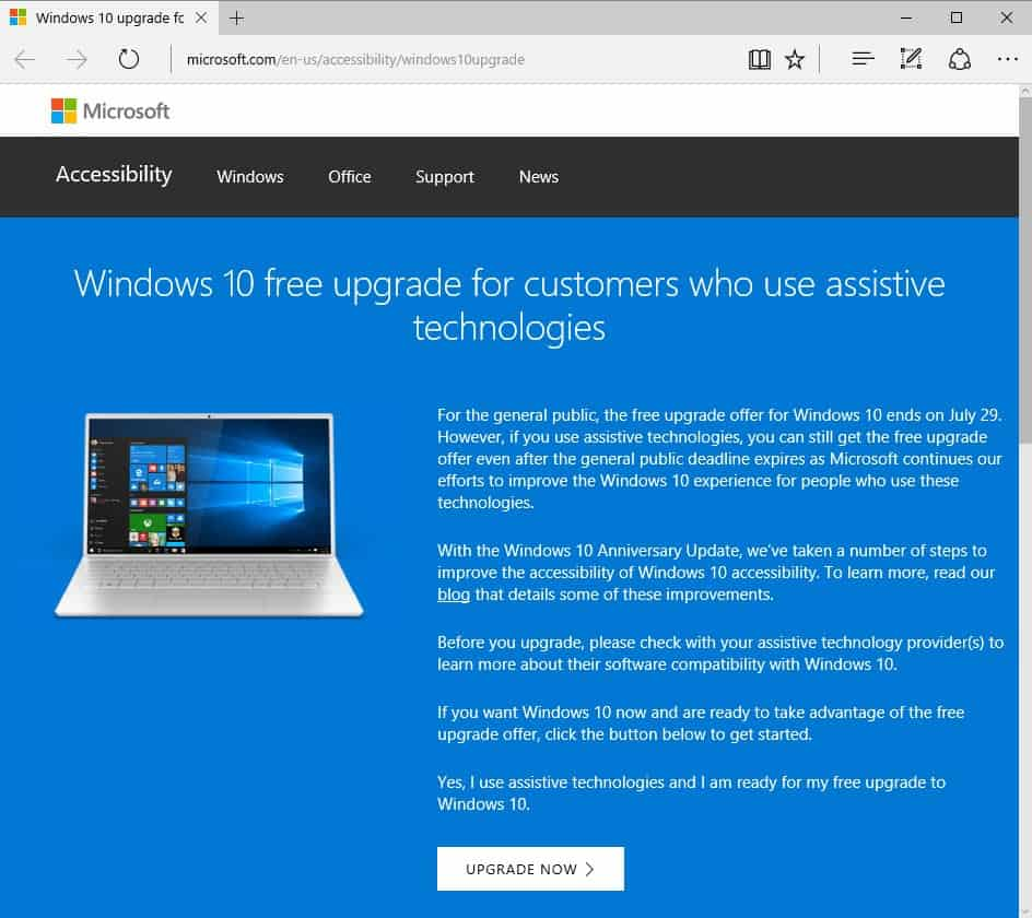 windows 10 upgrade assistive technologies
