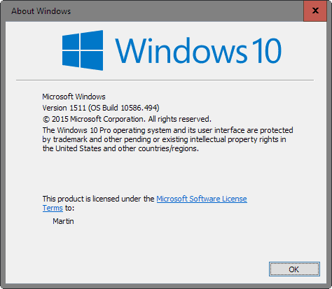 Find out which version of Windows 10 is installed