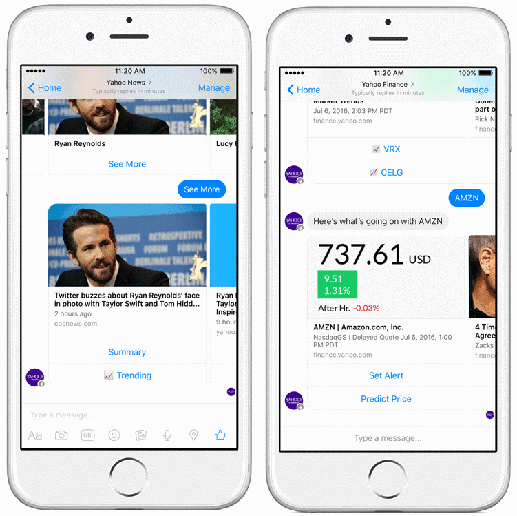 Yahoo launches Facebook Messenger bots