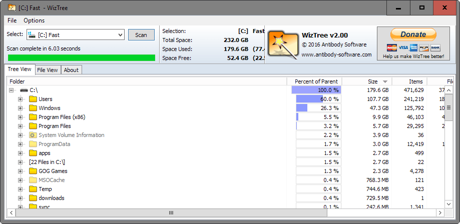 analyze disk space