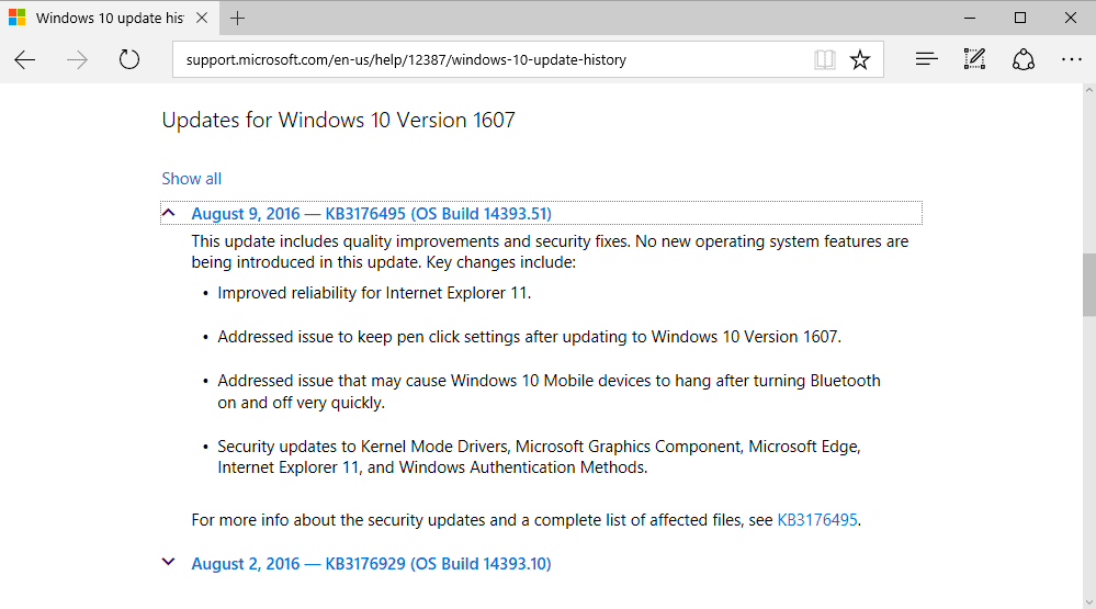 cumulative windows patches