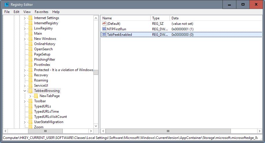 disable edge tab previews