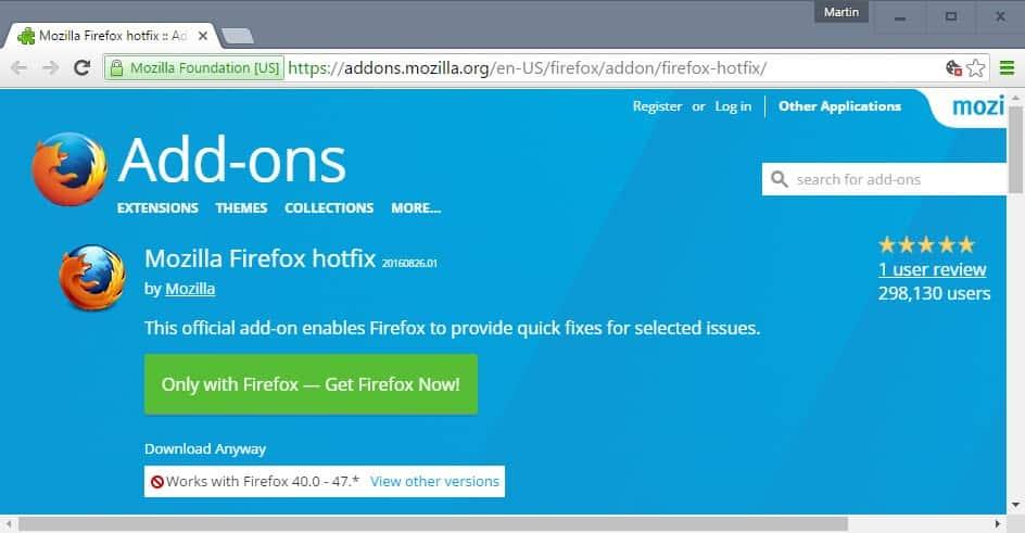 firefox hotfix websense