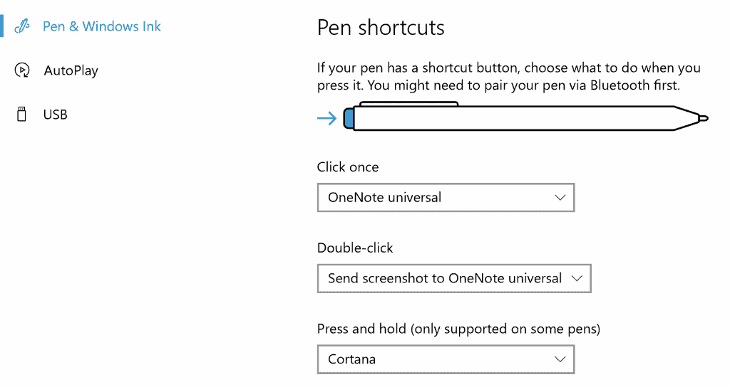 windows 10 pen shortcuts