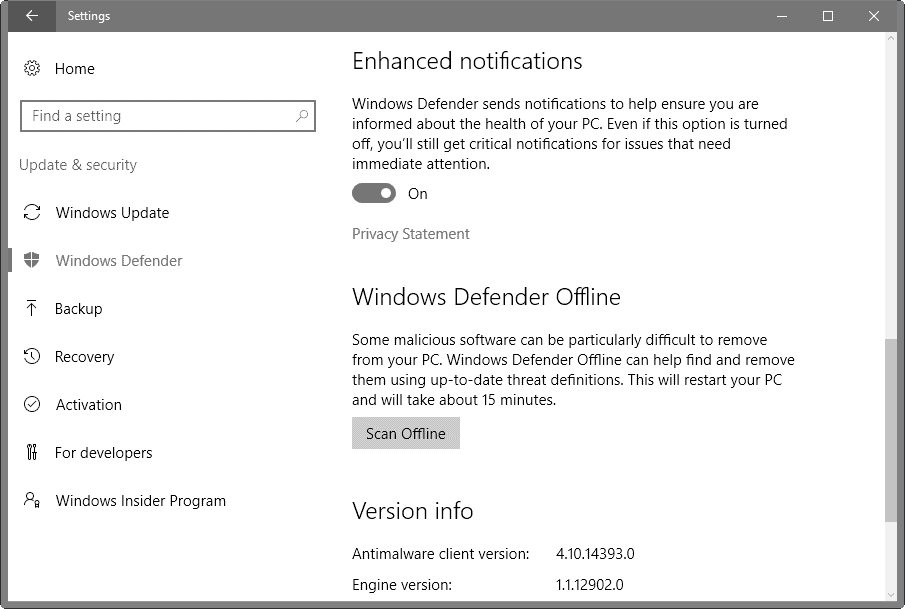 windows defender enhanced notifications