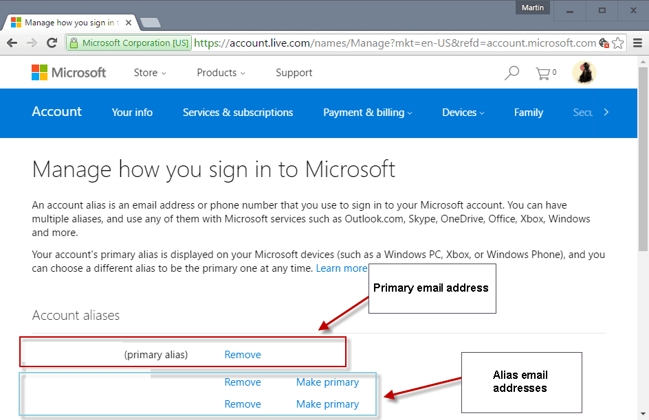 How to change your primary Microsoft Account email - gHacks Tech News