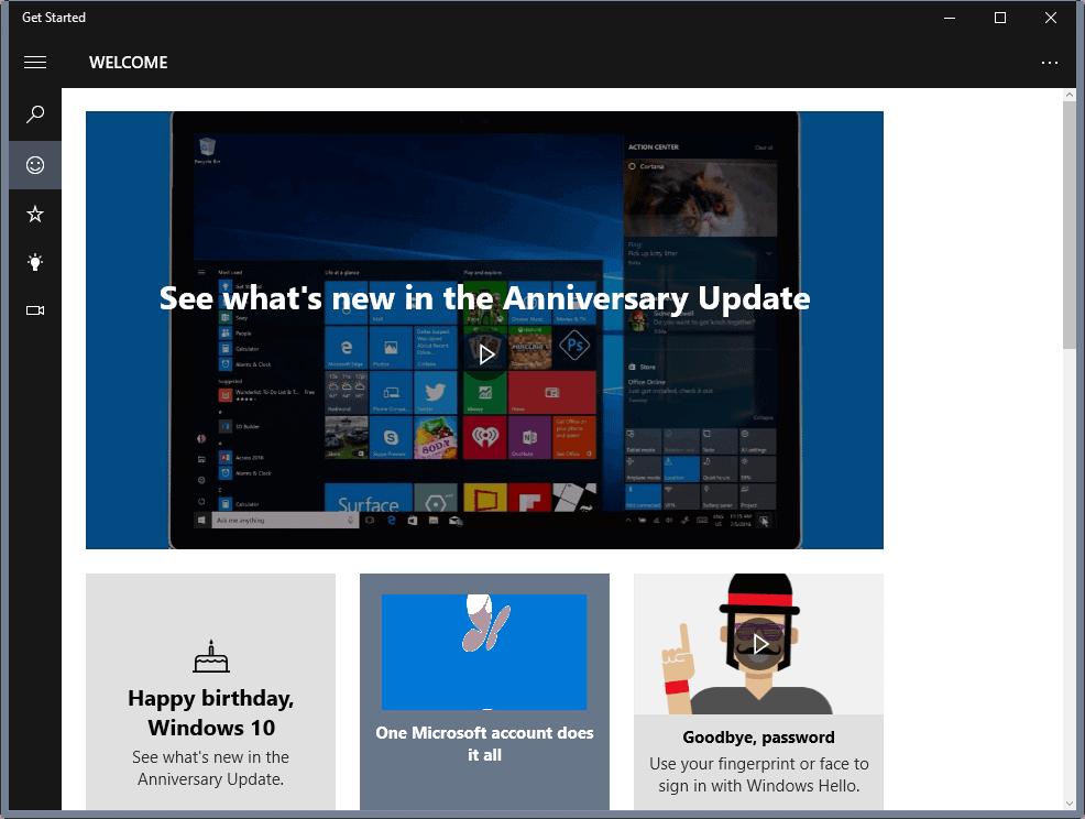 windows 10 get started