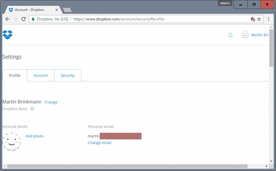 dropbox change email