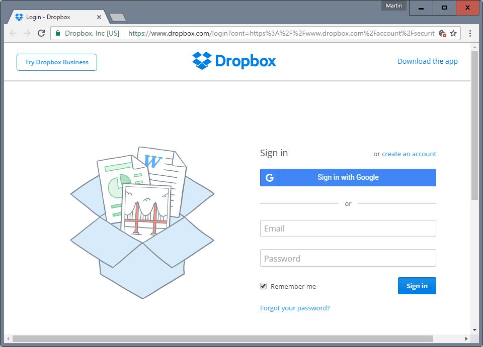 dropbox sign-in google