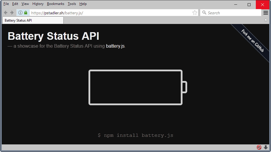 firefox battery status api