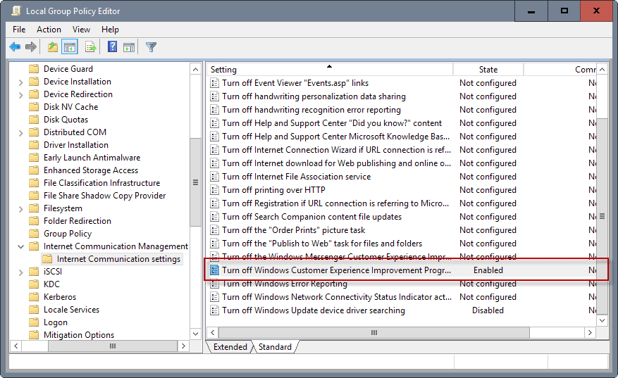 group policy windows customer-experience improvement program