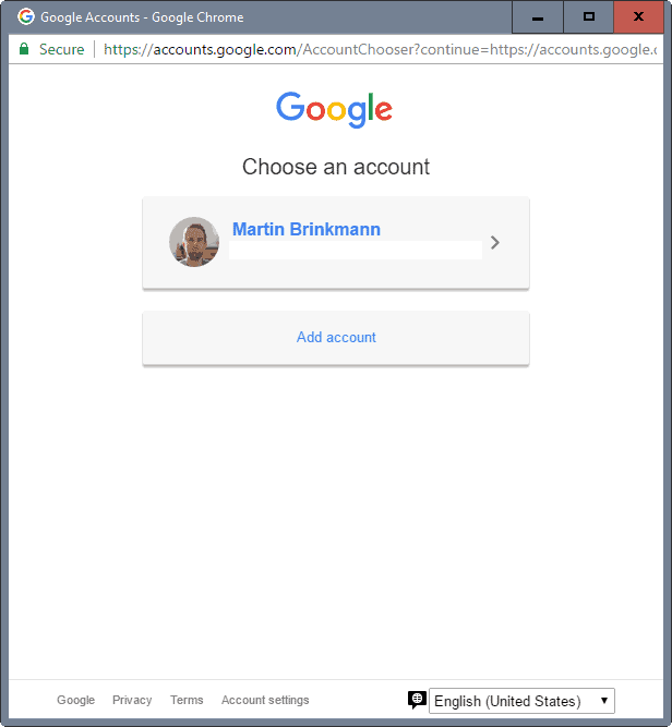 select google account