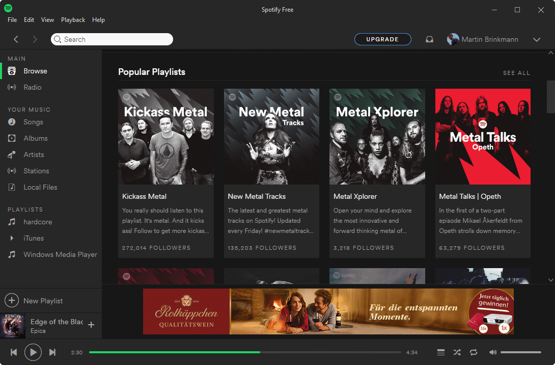 Spotify Free opens web browser ads
