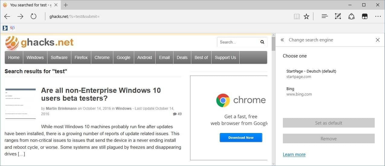 microsoft edge search engine