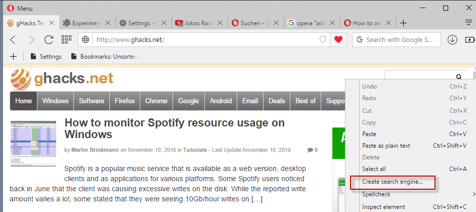 opera create search engine