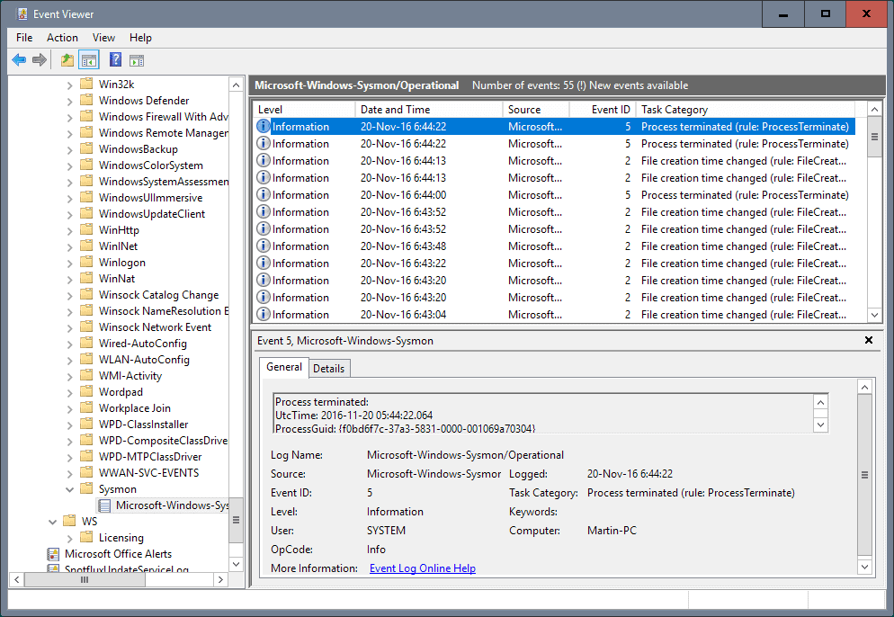 sysmon event viewer