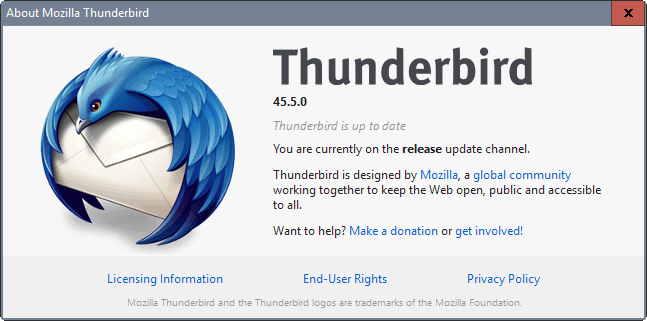 Thunderbird 45.5 email client released