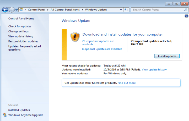 windows 8.1 ing updates 0