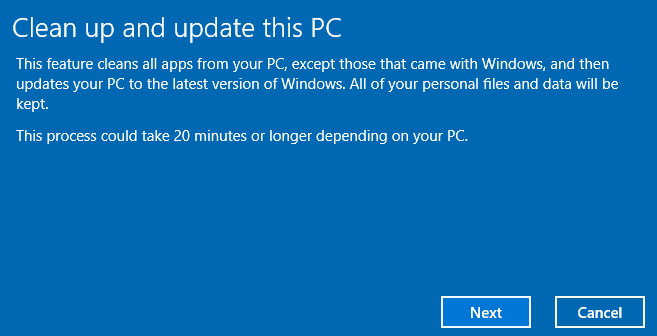clean up update this pc
