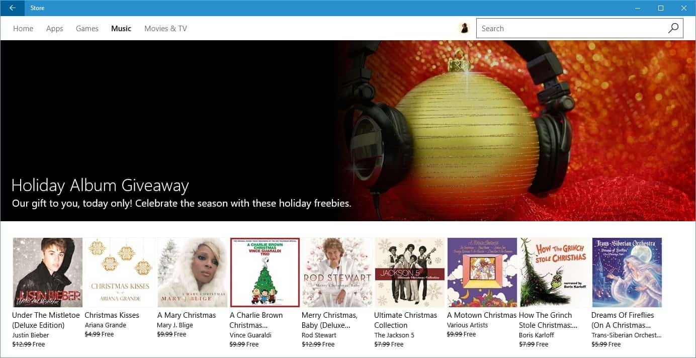 Microsoft Holiday Album Giveaway: grab 9 free albums