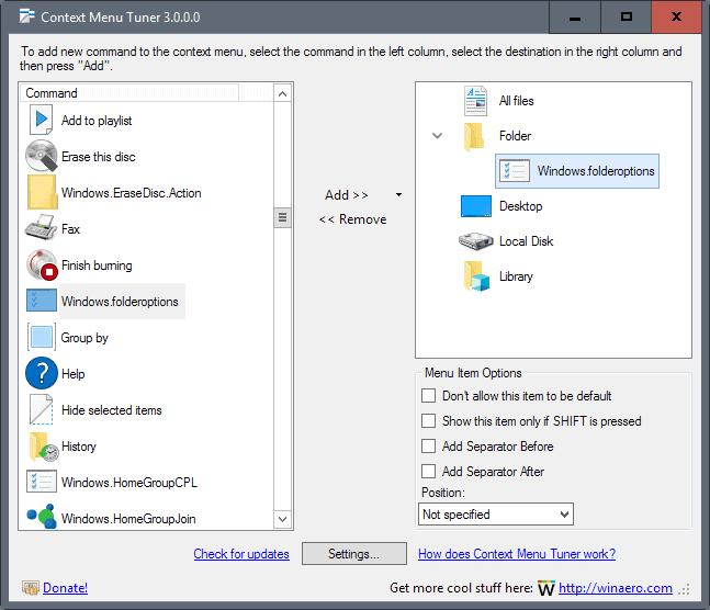 context menu tuner