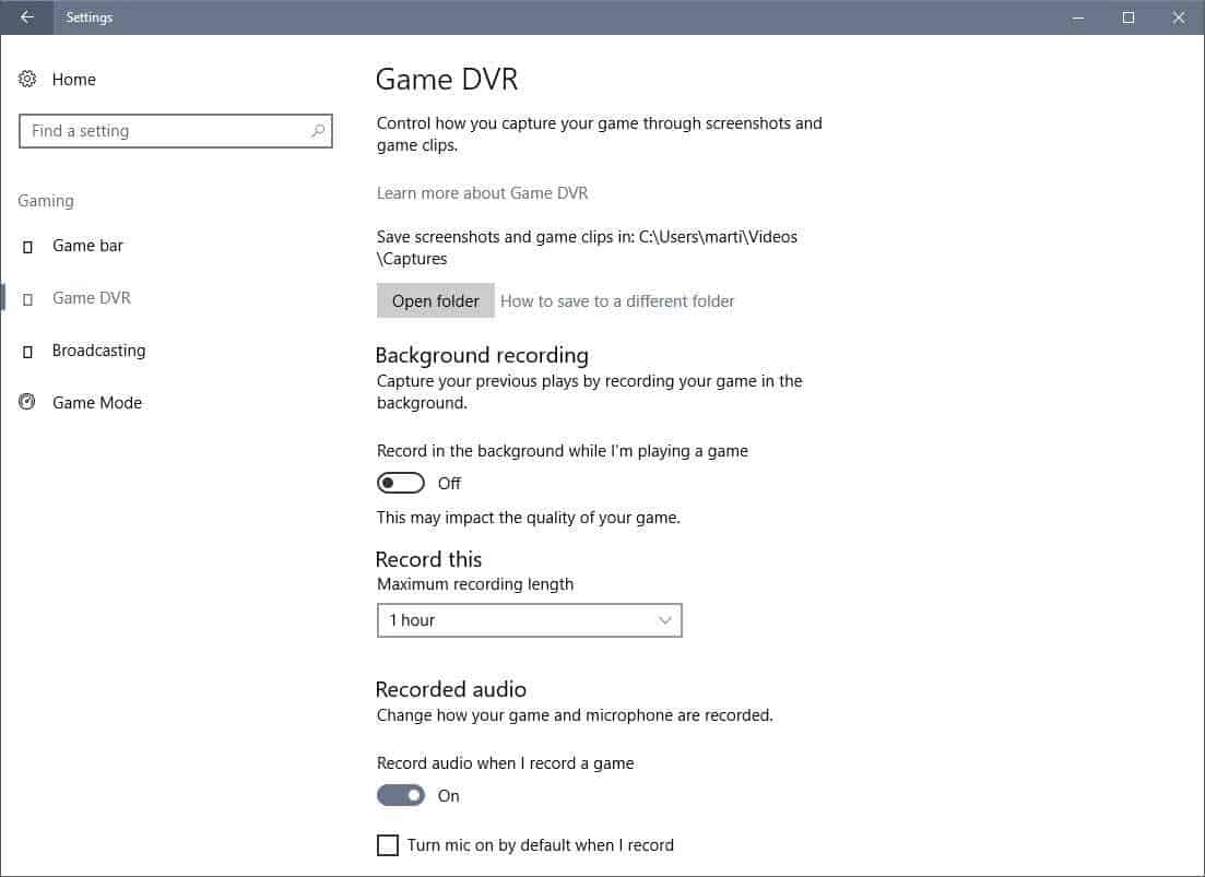 game dvr settings
