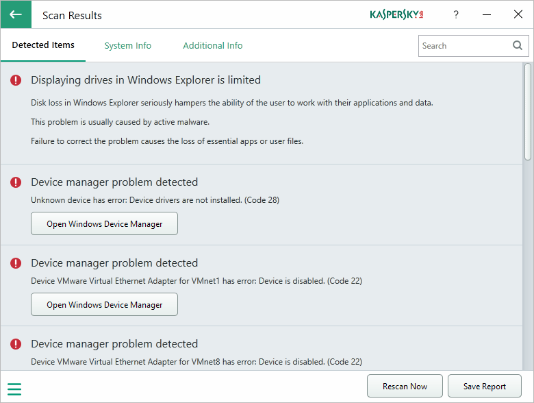 kaspersky system checker scan results