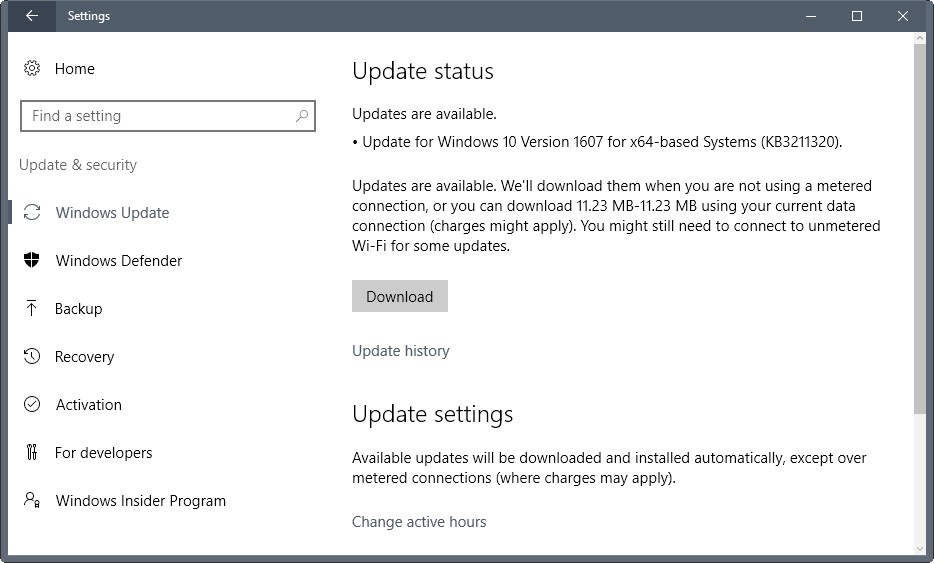 Windows 10 Version 1607 update KB3211320