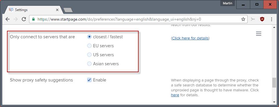 startpage servers