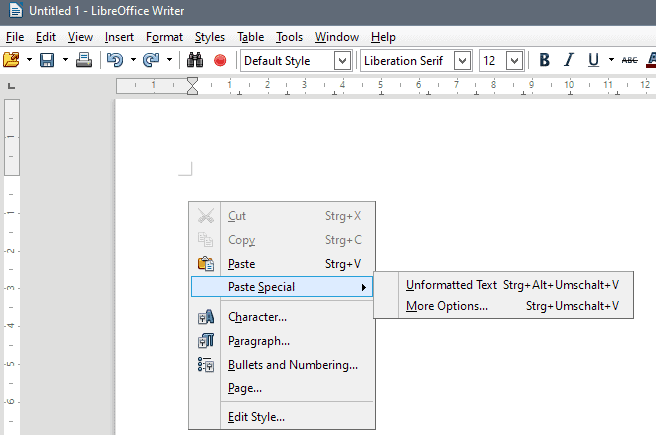 libreoffice 5.3 keyboard shortcuts