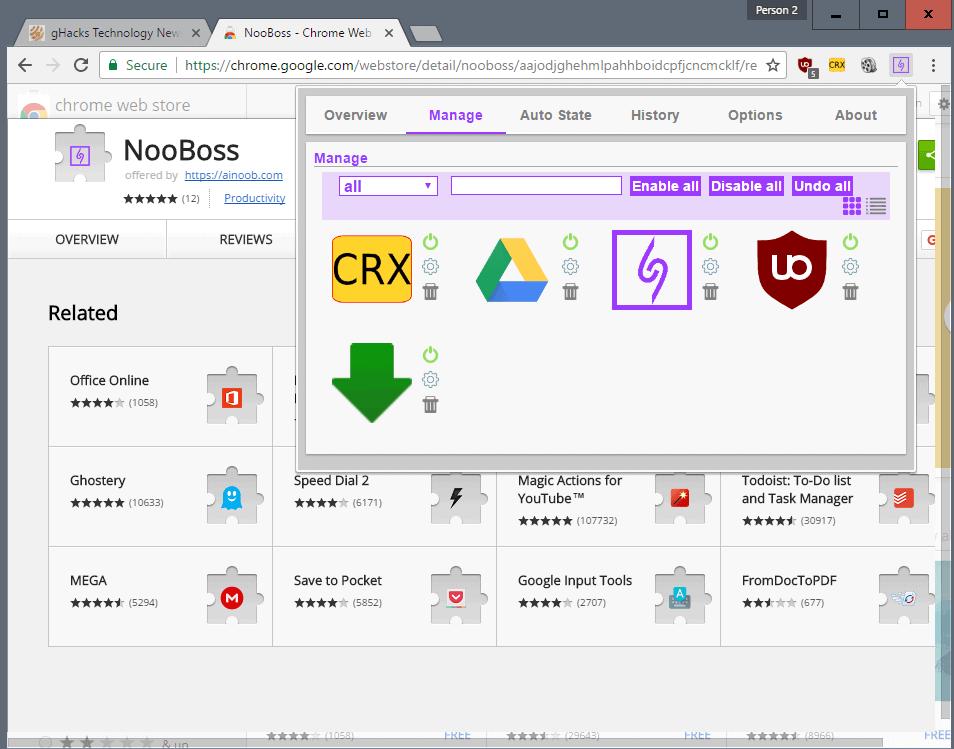 manage chrome extensions nooboss